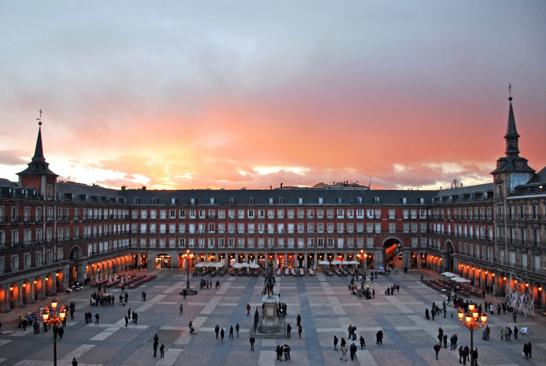 Foto de la Plaza Mayor al atardecer