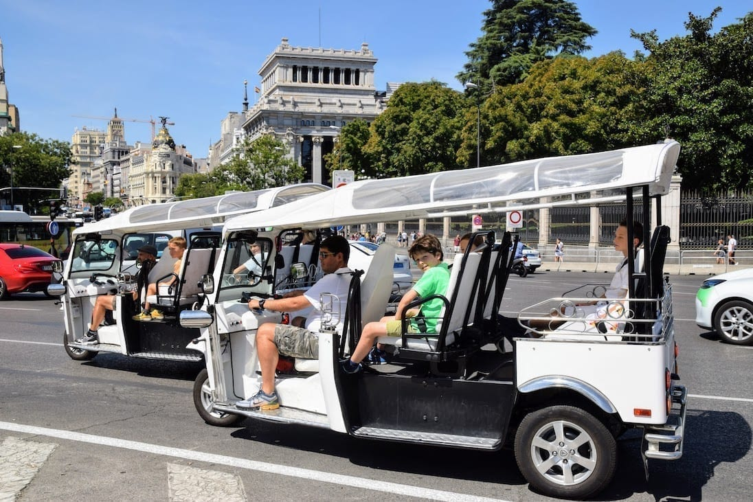 One of our electric Tuk Tuk vehicles around Madrid